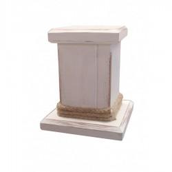Κηροπήγιο στήλη ξύλινο λευκό με φυσικό σκοινί γιούτας 16εκ 239614-48