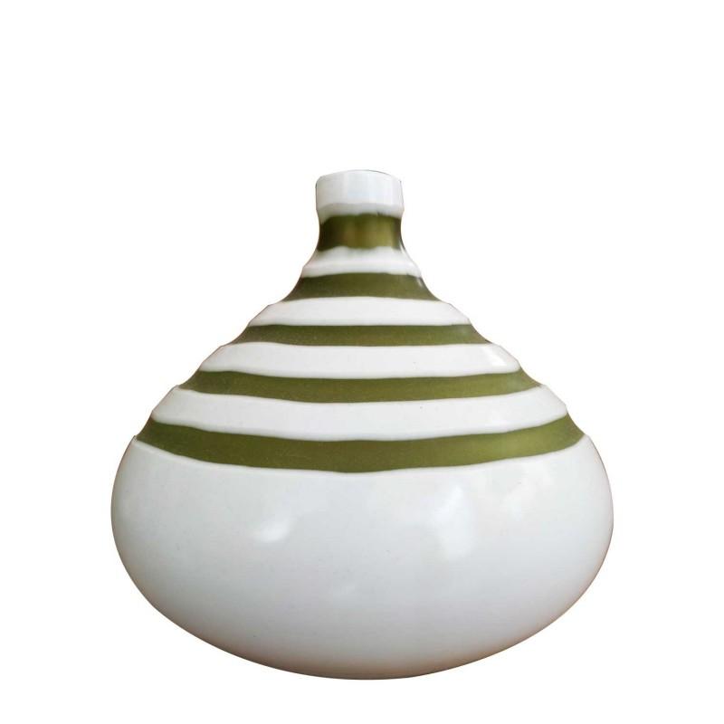 Βάζο γυάλινο λευκό-πράσινο Capolavoro 0273