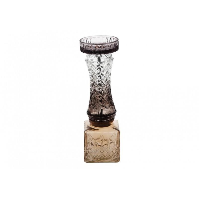 Κηροπήγιο γυάλινο ανθρακί-μελί 30εκ TRIMAR 50100698