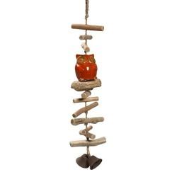 Κουκουβάγια κεραμική κρεμαστή με ξύλακια Espiel 60 εκ