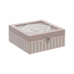 Κουτί ραπτικής ξύλινο ροζ 20 x 20 INART 3-70-874-0007
