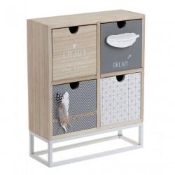 Κουτί ξύλινο με 4 συρτάρια και μεταλλική βάση 29 x 30 εκ INART 3-70-768-0020