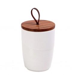 Δοχείο πορσελάνης λευκό με ξύλινο καπάκι 11,5εκ