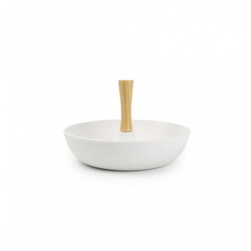 Μπωλ σερβιρίσματος  λευκό-ματ με ξύλινο χέρι YONG 711152