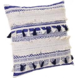Μαξιλάρι υφασμάτινο λευκό/μπλε με φουντάκια 45x45εκ INART 3-40-086-0011