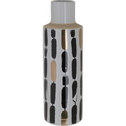 Βάζο κεραμικό κυλινδρικό λευκό/μαύρο 34εκ INART 3-70-105-0770