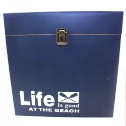 Κουτί-Μπαούλο ξύλινο μπλε/γκρι σκούρο 35,5εκ 863201