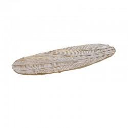 Πιατέλα αλουμινίου οβάλ λευκή/χρυσή 39,5εκ INART 3-70-134-0006