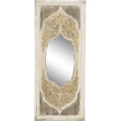 Καθρέπτης τοίχου ξύλινος αντικέ εκρού INART 3-95-725-0021