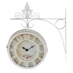 Ρολόι τοίχου (Σταθμού) μεταλλικό ιβουάρ 31x10x36εκ Inart 3-25-021-0007