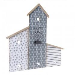 Πίνακας σημειώσεων/κρεμάστρα ξύλινη μπλε/γκρι  54x5x62cm Inart 3-70-623-0004