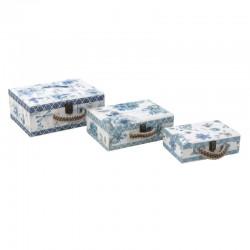 Βαλίτσα ξύλινη  σετ/3 τεμάχια γαλάζια 34Χ27Χ14 INART 3-70-216-0086