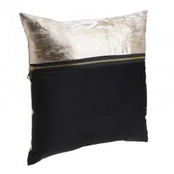 Μαξιλάρι βελούδο μαύρο/εκρού-χρυσό 40Χ40 Inart 3-40-865-0139