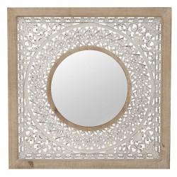 Καθρέπτης Τοίχου ξυλόγλυπτος λευκο/φυσικό Inart 3-95-812-0031