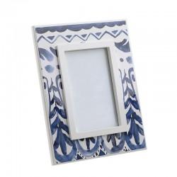 Κορνίζα ξύλινη λευκό/μπλε 10X15 Inart 3-30-105-0122