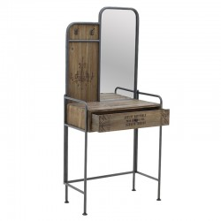 Κονσόλα εισόδου ξύλο/μέταλλο με καθρέπτη Inart 3-50-196-0021