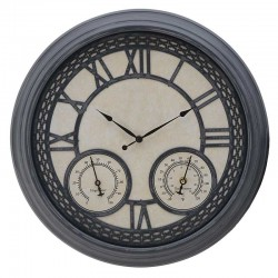 Ρολόι Τοίχου πλαστικό γκρι-μπεζ αντικέ Inart 3-20-925-0012