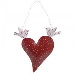 Καρδιά κρεμαστό διακοσμητικό μεταλλικό κόκκινο Inart 3-70-429-0059