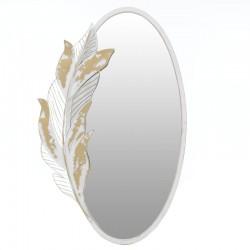 Καθρέπτης τοίχου μεταλλικός λευκός με φύλλο 63x100εκ Inart 3-95-954-0010