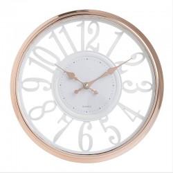 Ρολόι Τοίχου πλαστικό ροζ/χρυσό-λευκό Inart 3-20-284-0132