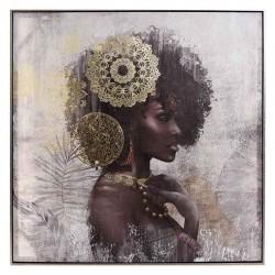 Πίνακας γυναικεία φιγούρα αφρικάνας 80Χ80 Inart 3-90-519-0147