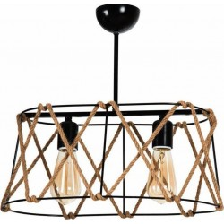 Φωτιστικό οροφής 2φωτο μεταλλικό μαύρο με σχοινί 40Χ20Χ20εκ INART  6-10-584-0008