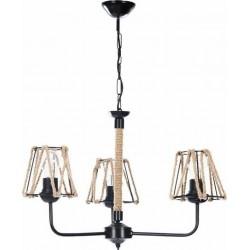 Φωτιστικό Οροφής 3φωτο μεταλ. με σχοινί μαύρο/natural 45x45x41/84 Inart 6-10-584-0009