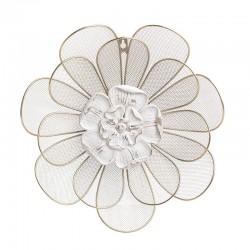Διακοσμητικό Τοίχου λουλούδι μεταλλο χρυσό λευκό 35Χ7Χ35εκ Inart 3-70-440-0005