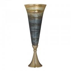 Βάζο γυάλινο-αλουμίνιο μπλε χρυσό Δ17Χ48 εκ Inart 3-70-162-0158