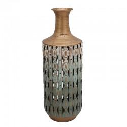 Βάζο μεταλλικό αντικέ χρυσό/λευκό διάτρητο 50εκ Inart 3-70-626-0093