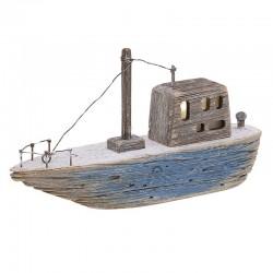 Καράβι με φως θαλασσόξυλο φυσικό/μπλε 25χ6χ13  Inart 4-70-727-0024