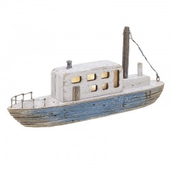 Καράβι με φως θαλασσόξυλο φυσικό/μπλε 30χ6χ14  Inart 4-70-727-0028