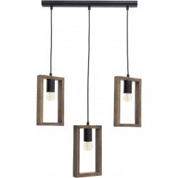 Φωτιστικό οροφής 3φωτο ξύλινο/μεταλλικό70εκ Inart 6-10-584-0031