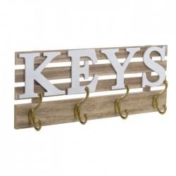 Κρεμάστρα ξύλινη Keys λευκή/ natural 45X6X18 Inart 3-70-877-0018