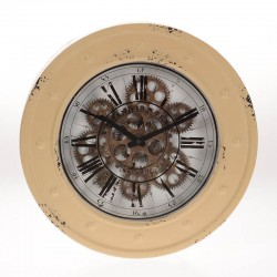Ρολόι τοίχου μεταλλικό μπεζ αντικέ γρανάζια INART 3-20-235-0003