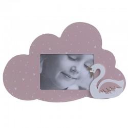 Κορνίζα ξύλινη συννεφάκι με κύκνο ροζ 15Χ10 INART 3-30-540-0001