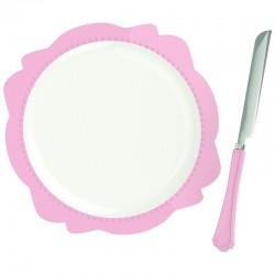 Πιάτο πορσελάνης ροζ μπορντούρα με μαχαίρι  30 εκ S&P 38001