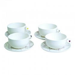 Φλυτζάνια τσαγιού & πιατάκια σετ 4 28 εκ. 280ml STUDIO S&P 33338