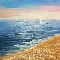 Πίνακας καμβάς παραλία με γλάρους 163722