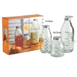 Μπουκάλια γυάλινα σετ3 με μεζούρα 69018