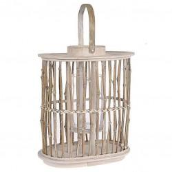 Φανάρι ξύλινο με γυάλινο δοχείο για κερί INART 3-70-003-0160