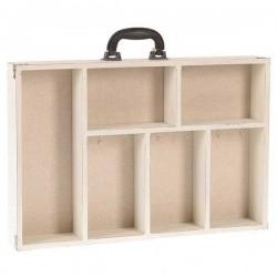 Κλειδοθήκη-ραφάκι ξύλινο εκρού σχέδιο βαλίτσα INART 3-70-105-0644
