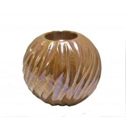 Κηροπήγιο κεραμικό μπάλα ιριζέ ροζ 12εκ 89368