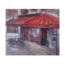 """Πίνακας τελάρο καμβάς 60 x 60 εκ. \""""μαγαζί με τέντες\"""" 13540C"""