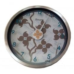 Ρολόι τοίχου μεταλλικό στρογγυλό μπεζ λουλούδια και μπλε νούμερα FORUM 7690100