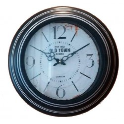 """Ρολόι τοίχου μεταλλικό στρογγυλό μαύρο-λευκό \""""OLD TOWN\"""" 296277"""