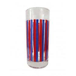 Ποτήρι σωλήνας γυάλινο Σετ 6 κόκκινες-μπλε ρίγες NAVA 18012B