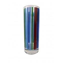 Ποτήρι σωλήνας γυάλινο Σετ 6 με πολύχρωμες ρίγες DG3
