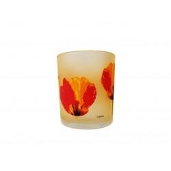 Ποτήρι κρασιού γυάλινο Σετ 6 ματ με πορτοκαλί λουλούδια CERVE 93780