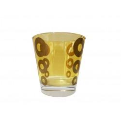 Ποτήρι κρασιού γυάλινο Σετ 6 κίτρινο με χρυσούς κύκλους CERVE 81210